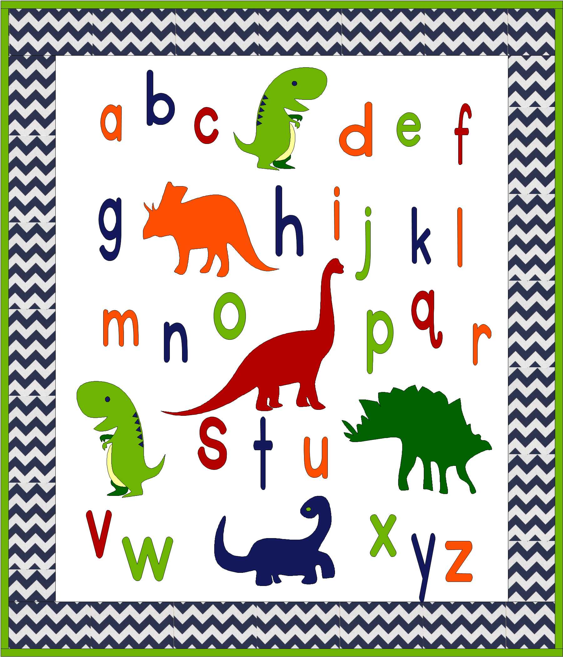 ABC Dinosaur Baby or Toddler Quilt Pattern