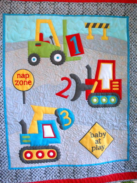 Construction Trucks Panel Baby Boy Or Toddler Quilt