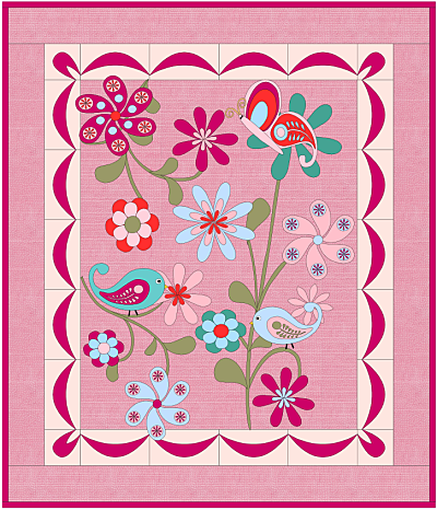 Birds Butterflies and Flowers Quilt Pattern
