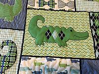 Bow Ties and Alligators Baby Quilt