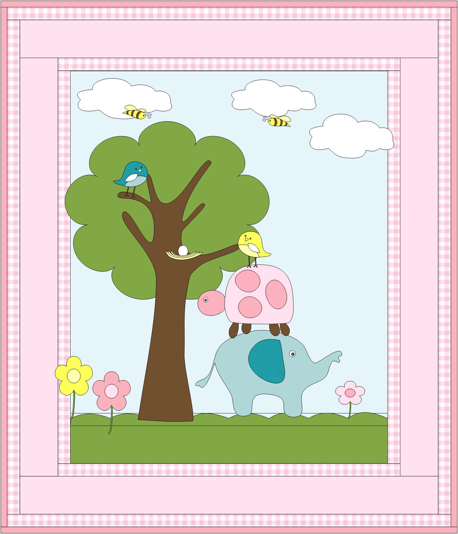 Elephant and Friends Quilt Pattern - Boy & Girl Colorways